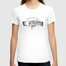 Trust No Man SMALL Womens Fitted Tee White