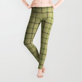 Fern Green & Sludge Grey Tattersall on Wheat Beige Background Leggings