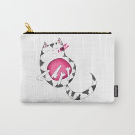 Sleepy Striped Kitty Cat Carry-All Pouch