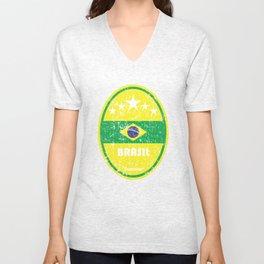World Cup Football 1/8 - Brasil (Distressed) Unisex V-Neck
