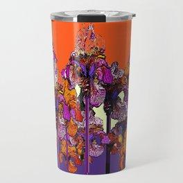 "modern art "" PURPLE & CREAM "" ORANGE IRIS GARDEN Travel Mug"