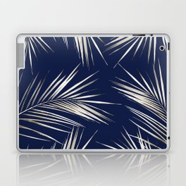 White Gold Palm Leaves on Navy Blue Laptop & iPad Skin
