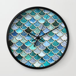 Multicolor Aqua Mermaid Scales - Beautiful Abstract Glitter Pattern Wall Clock