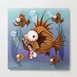 Psycho Fish Piranha with Bone Metal Print