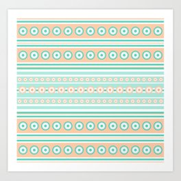 Striped mint green and orange background with dots Art Print