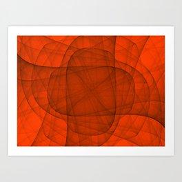 Fractal Eternal Rounded Cross in Red Art Print