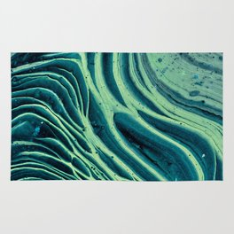 Lagoon Acrylic Tree Ring Pour Painting Rug