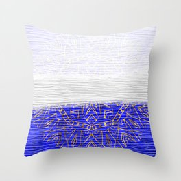385 Blue Gold White Abstract Mandala Throw Pillow