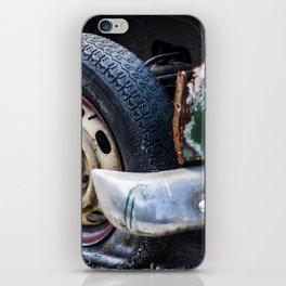Flat tire on smashed vintage car iPhone Skin