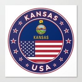 Kansas, Kansas t-shirt, Kansas sticker, circle, Kansas flag, white bg Canvas Print