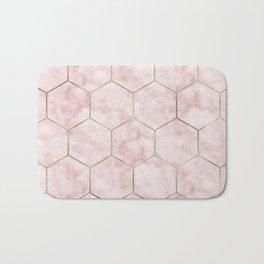 Cloudy pink marble hexagons Bath Mat