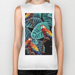 tropical leaves macaw pattern 2 Biker Tank