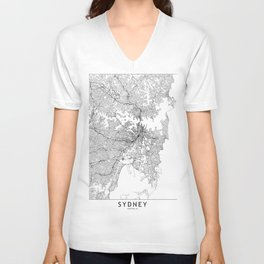 Sydney White Map Unisex V-Neck
