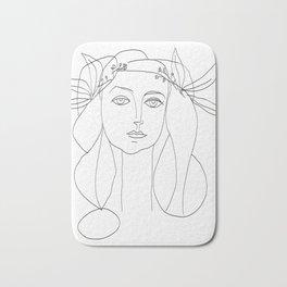 Picasso Line Art - Woman's Head Bath Mat
