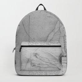Leonardo da Vinci Vitruvian Man with Wings Study of Angels Backpack