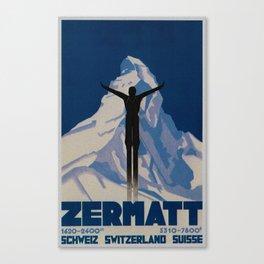 Vintage Zermatt Switzerland Travel Canvas Print