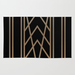 BLACK AND GOLD 2 (abstract art deco geometric) Rug