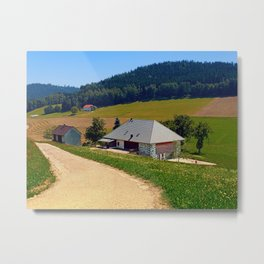Hiking trail, farm house and scenery   landscape photography Metal Print