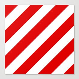 Stripes Diagonal Red & White Canvas Print