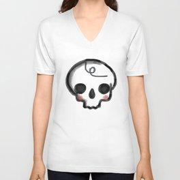 My Skully Friend - digital mixed media illustrated skeleton Unisex V-Neck