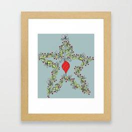 Christmas holly wreath, Star and Bauble Framed Art Print