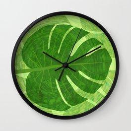 Monstera Tropical Leaf Wall Clock