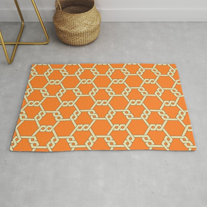 Pastel Yellow-Orange Freeman Lattice Rug