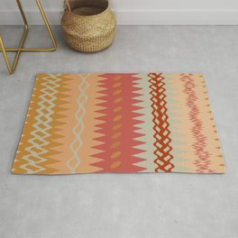 Assorted Zigzags And Waves Sienna Peach Grey Rug