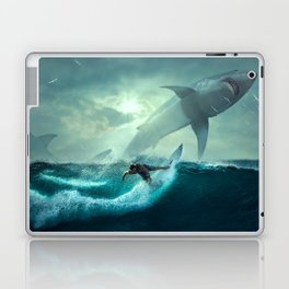 Surfing with sharks Laptop & iPad Skin