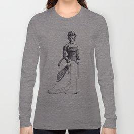 Fashion Illustration--vintage fashion 19th-century Victorian Long Sleeve T-shirt