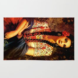Jesus Helguera Painting of a Mexican Calendar Girl with Braids Rug