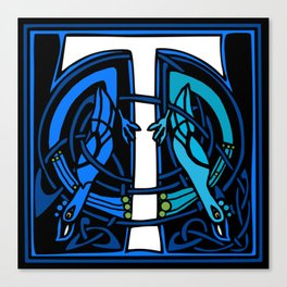 Celtic Peacocks Letter T Canvas Print