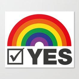 Vote Yes! - Rainbow Tick Canvas Print