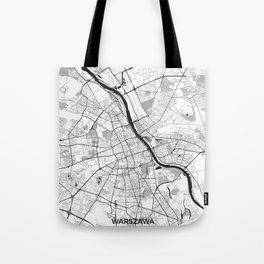 Warsaw Map Gray Tote Bag