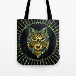 Tribal Wolf - Gold and Marble Decorated Tote Bag