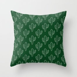 Modern hand painted forest green white cactus floral Throw Pillow
