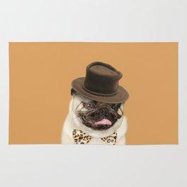 Dog pug with hat Rug