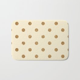 Blanched Almond Gold Glitter Dot Pattern Bath Mat