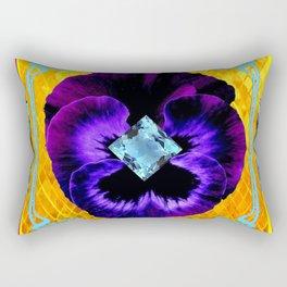 NOUVEAU DESIGN PURPLE PANSY &  AQUAMARINE GEMS Rectangular Pillow