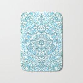 Turquoise Blue, Teal & White Protea Doodle Pattern Bath Mat
