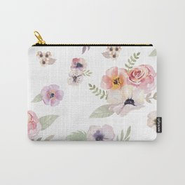 Floral I - White Carry-All Pouch