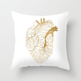 Heart Branches - Gold Throw Pillow