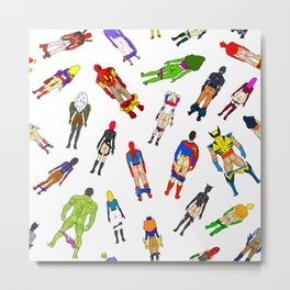 Superhero Butts with Villians - Light Pattern Metal Print