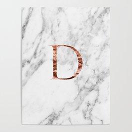 Monogram rose gold marble D Poster