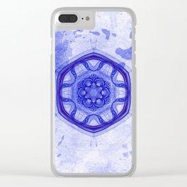 Blue wheel of fortune mandala Clear iPhone Case