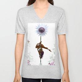 Purple Dancing Daisy Unisex V-Neck