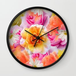 Spring Flowers Galore Absstract Wall Clock
