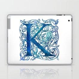 Letter K Antique Floral Letterpress Laptop & iPad Skin