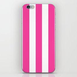 Rose bonbon pink - solid color - white vertical lines pattern iPhone Skin