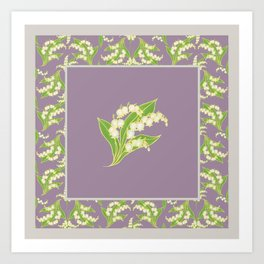Vintage-style Lily-of-the-Valley on Mauve Art Print